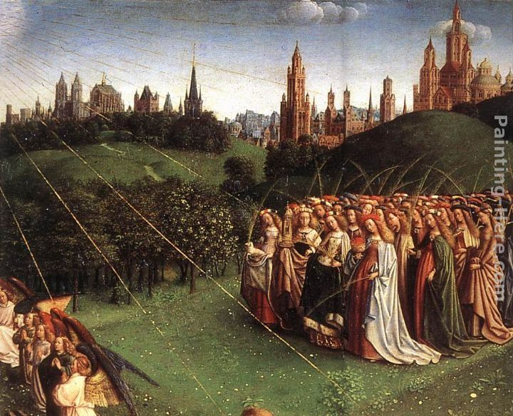 Jan van Eyck The Ghent Altarpiece Adoration of the Lamb [detail top right 1]